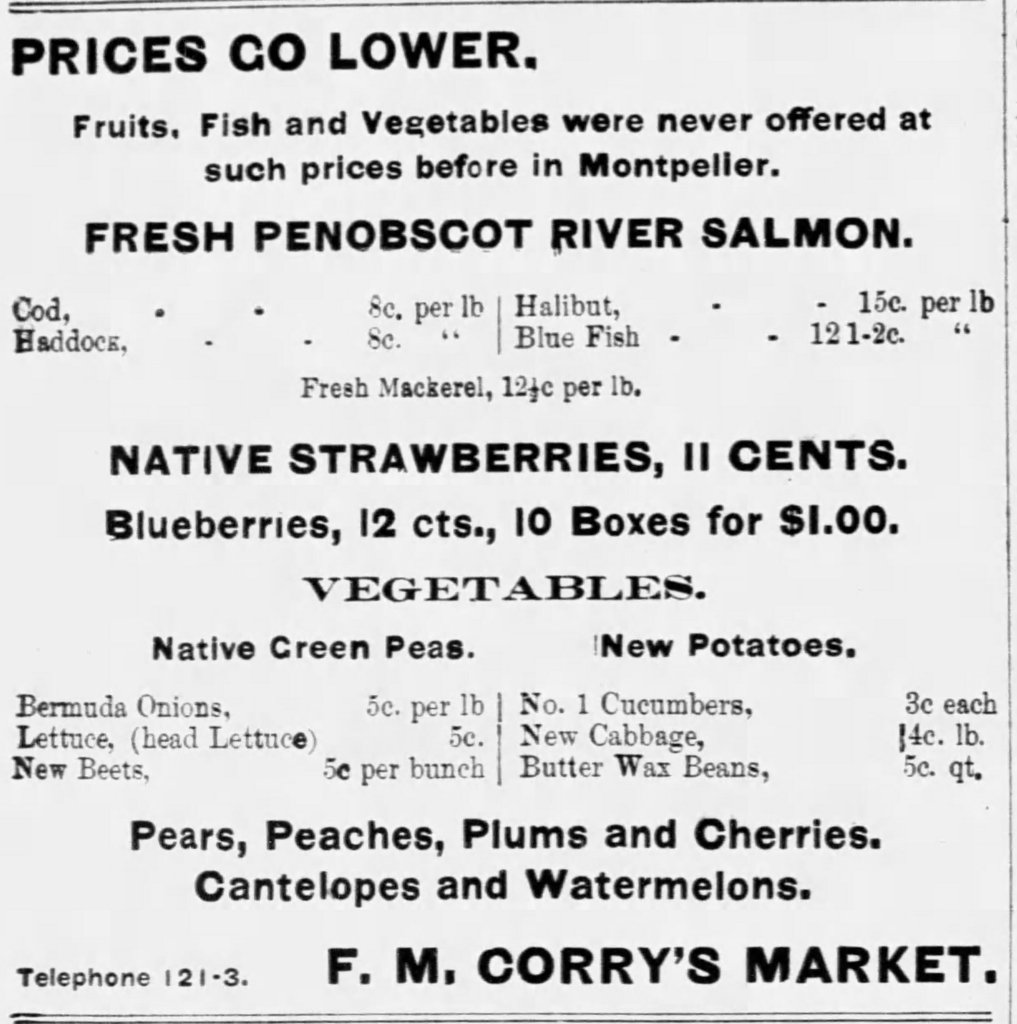 "An add for F.M. Corry's Market, listing the price of blueberries as ""10 boxes for $1.00"""